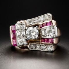 Retro Rose Gold, Diamond and Ruby Ring