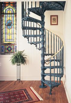 Wrought Iron Stair Railing, Metal Stairs, Staircase Railings, Wrought Iron Gates, Modern Staircase, Spiral Staircases, Stairways, Spiral Stairs Design, Staircase Design