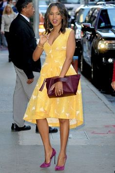 Best dressed - Kerry Washington in a yellow dress. Yellow and dark red