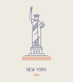 Line Icons of the World's Most Famous Landmarks New York Illustration, Illustration Design Graphique, Digital Illustration, Line Design, Icon Design, Liberty Logo, Famous Landmarks, Line Icon, Illustrations