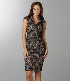Xscape Lace Ruffle-Neck Dress | Dillards.com