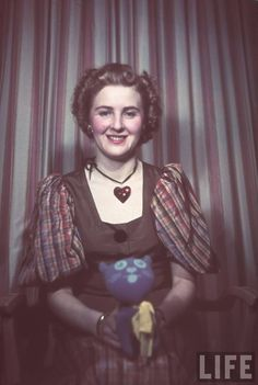 Eva Braun, Hitler's mistress, with toy cat. Date and location unknown.