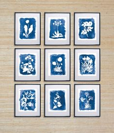 9 Cyanotype Inspired prints in any color. Printed on 19pt. SAVOY paper for a luxurious feel. Made from 100% pure cotton, SAVOY blends old world elegance with new world sophistication making it the perfect choice for my artist prints.