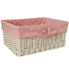 White Willow Basket with Pink Polka Lining (Large)