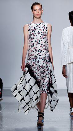 Assymetrical Godet Hem Dress - Floral Cubes Combo