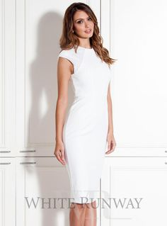 Alex Dress. A chic midi length dress designed by Leah Da Gloria for White Runway. A high neck style featuring wide sleeves and mesh paneling on the shoulders.