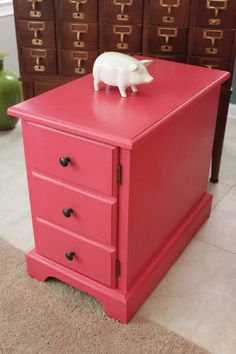 Hot Pink Nightstand/Side Table/End Table with by SweetParsleyHome