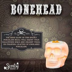 I'm in love with #Bonehead! A #Halloween must have! #skeleton #skull #wax #scentsy #warmer #home #décor #fall