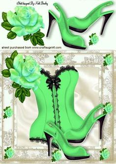 PRETTY GREEN ROSE WITH BASQUE SHOES 8X8 on Craftsuprint - Add To Basket!