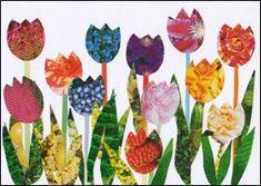 Tulips – collage - Spring Crafts For Kids Spring Art Projects, Spring Crafts For Kids, School Art Projects, Art For Kids, Flower Crafts, Flower Art, Easter Art, Mothers Day Crafts, Art Plastique