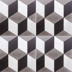 Carreau de ciment sol et mur blanc et noir 3d l.20 x L.20 cm | Leroy Merlin