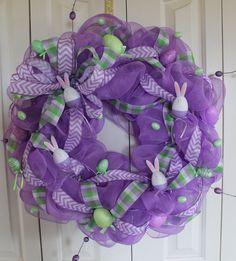 Easter  Deco Mesh lavender Wreath. Purple Easter Wreath.  Spring- Easter Wreath.  Easter Decor.  Pastel Easter Egg Wreath.