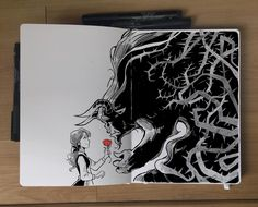 Beauty and the Beast by Picolo-kun on DeviantArt Illustration Sketches, Drawing Sketches, Art Drawings, Drawing Ideas, Sketching, Illustrations, Sketch Painting, Watercolor Artwork, Beauty And The Beast Drawing