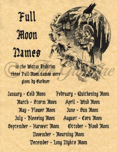 Full Moons & Their Names, Book of Shadows Spell Page, Wicca, Witchcraft, Pagan