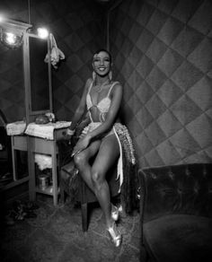 Josephine Baker backstage at Follies Bergrere, Paris, France, 1920s. (Interesting note: many years later, in 1963, she was the *only* female speaker at the March on Washington for Jobs and Freedom.)