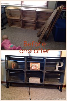 Hand made fruit crate and pallet wood TV stand. Grey and black stain.