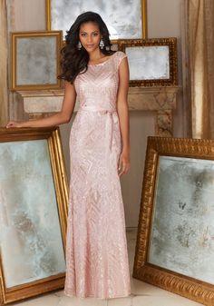 Patterned Sequins on Mesh Bridesmaid Dress Designed by Madeline Gardner