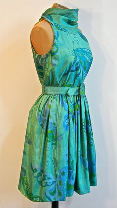 Exotic Butterfly Silk Shantung 60s Garden Party Dress