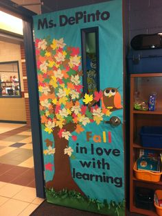 Fall classroom door with students' names.