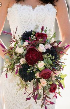 Deep Burgundy And Purple Mixed Wedding Bouquet Www