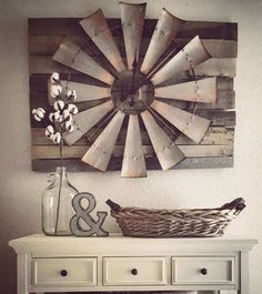 Over-sized+Windmill+and+Barn+Wood+Wall+Clock . - Over-sized+Windmill+and+Barn+Wood+Wall+Clock … Over-sized+Windmill+and+Barn+Wood+Wall+Clock Diy Home Decor Bedroom For Teens, Diy Home Decor Rustic, Country Farmhouse Decor, Rustic Wall Decor, Rustic Walls, Farmhouse Style, Vintage Farmhouse, Wood Walls, Farmhouse Design