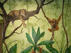 Jungle mural Kids Room Murals, Bedroom Murals, Bedroom Themes, Jungle Room, Jungle Theme, Murals Street Art, Mural Art, Church Nursery, Nursery Room