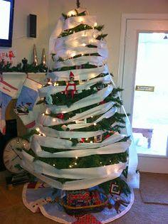 Toilet papered Christmas tree. Elf on the Shelf ideas #elfontheshelf