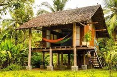 My dream home in the Peruvian Jungle Pole House, Hut House, Tiny House Cabin, Bamboo House Design, Tiny House Design, Jungle House, Forest House, Modernisme, Tree House Designs