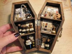 Miniature Coffin Shadow Box  Dr Westly's by AhtheMacabre on Etsy, $65.00