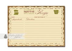 Lace Burlap Recipe Card Rustic Bridal Shower by digibuddhaPaperie, $8.00