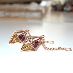 Amethyst Topaz in rose gold earrings! Gems in its natural beauty.
