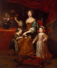 ab. 1678-1688 After Pierre Mignard - Elizabeth Charlotte, Princess Palatine, Duchess of Orléans, with her son Philippe, later Regent of France, and daughter, Elizabeth, later Duchess of Lorraine