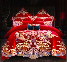 Embroidery Chinese Dragon and Phoenix Wedding Bedding Sets Asian Style, Chinese Style, Luxury Bedspreads, Wedding Bed, Oriental Decor, Chinese Embroidery, Indoor Outdoor Furniture, Asian Home Decor, Chinese Lanterns