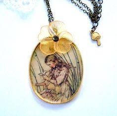 Alice in Wonderland Necklace Antique Brass by MissMaryElliott, $25.00