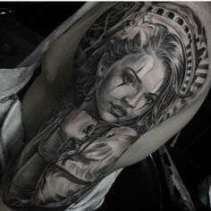 Clown girl by @joselopez_lowridertattoo #mexicanstyle_tattoos #mexstyletats #mexicanculture #ink #blackandgrey #tattoos #clowngirl