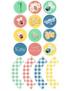 Printable cupcake toppers | Printable cupcake wrappers | Printable Party Circles | Spring Bugs Party | Girl Party |Customised Download PDF by JJPrintables on Etsy