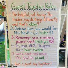 "Love this anchor chart- and the term ""guest teacher"" instead of sub."