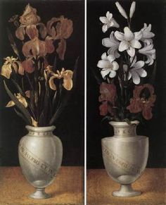 RING, Ludger tom, the Younger (b. 1522, Münster, d. 1583, Brunswick)   Click!	 Vases of Flowers  1562 Oil on oakwood, 63,4 x 24,6 cm (each) Westfälischer Kunstverein, Münster  The symbolic use of flowers in the late Middle Ages is reflected in the paintings by Ludger tom Ring the Younger. The picture shows white lilies in the one painting and golden brown irises in the other. Both vases bear the same Latin inscription, running diagonally downwards.