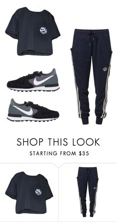 """3769"" by tiffanyelinor ❤ liked on Polyvore featuring NIKE and adidas"