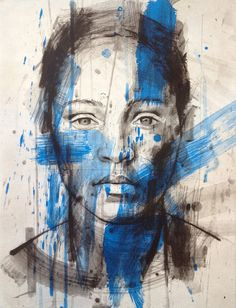 Art-Portrait-Lionel Smit-In this piece of painting, Lionel Smit sketches portraits of a person with simplicity using black and white as a base but creates an interesting piece of art by using strokes of a vibrant blue paint over. Modern Art, Contemporary Art, Street Art, South African Artists, A Level Art, Illustration, Grafik Design, Art Plastique, Portrait Art
