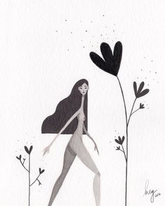 Inktober 8 / Flower jungle #illustration #drawing #cute #vegan #vegetarian #sketch #girl #characterdesign #flowers #inktober2017 #ink #inktober #indianink #hair #jungle #plants #megchikhani