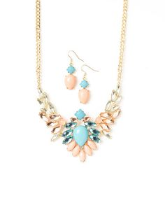 Love this Mint & Peach The Future Looks Bright Necklace & Earrings by LOLO by New Dimensions on #zulily! #zulilyfinds