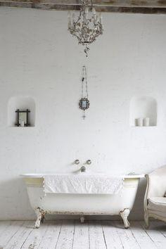 Chandelier in bathroom.  <3