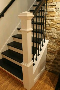 Paint Speckled Pawprints: Refinished Staircase Reveal Step By Step Tutorial  On How To Remodel A Carpeted Staircase Into One With Wooden Treads And Iron  ...