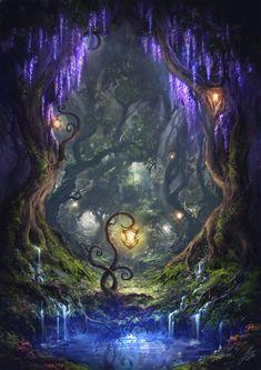 A Midsummer Night's Dream ~ Julian Bauer - Cool paintings - Landscape Fantasy Art Landscapes, Fantasy Landscape, Fantasy Artwork, Landscape Art, Fantasy Paintings, Digital Paintings, Watercolor Paintings, Fantasy Places, Fantasy World