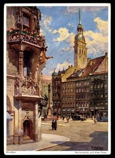 Marienplatz, Alter Peter (postcard around 1925)