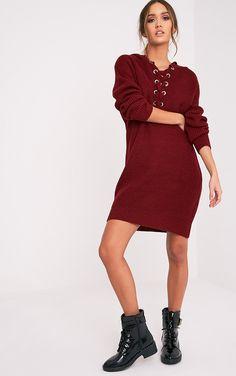 Megaen Dark Red Oversized Hoodie Knitted Dress Image 5