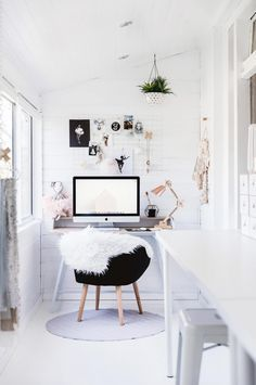Bloggers need clean white space plus a comfortable seat. We spend tons of time in our desks.