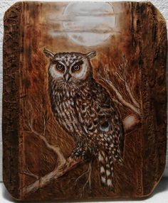 Owl Pyrography art - Artwork by Carlo Ferrario. Wood Burning Crafts, Wood Burning Patterns, Wood Burning Art, Dream Catcher Tattoo Design, Owl Artwork, Owl Card, Got Wood, Beautiful Owl, Pallet Art