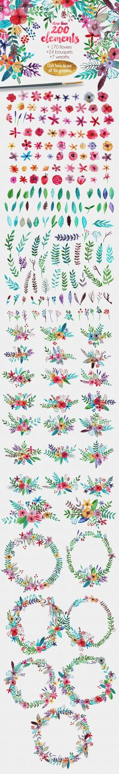Drawing Flowers Flowertopia by Mia Charro on Creative Market - lovely floral images and illustration! Watercolor Flowers, Watercolor Art, Drawing Flowers, Painting Flowers, Calligraphy Watercolor, Painting Inspiration, Art Inspo, Zentangle, Motif Floral